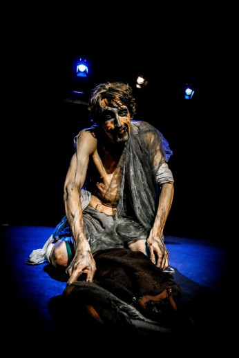 James Swanton in performance. 'Frankenstein's Creature', Theatre 503. © Jack Sain 2015