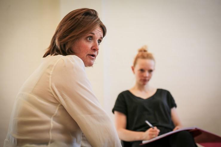 Jo McInnes in 'Valhalla' rehearsals, Theatre 503. © Jack Sain 2015