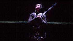 Gemma Arterton (Joan) in the Donmar Warehouse's production of Saint Joan. Dir Josie Rourke. Photo Jack Sain